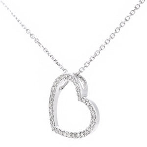 9ct White Gold Diamond Heart Pendant Necklace