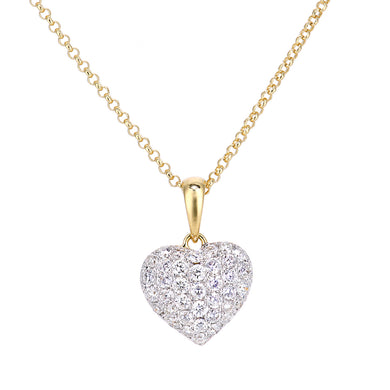 18ct Yellow Gold Diamond Heart Pendant Necklace