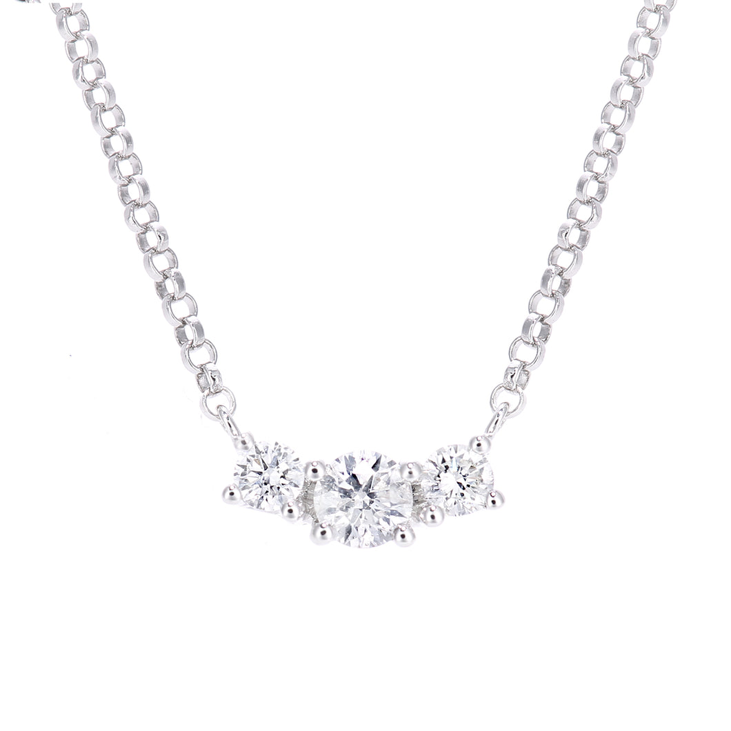 18ct White Gold Diamond Trilogy Pendant Necklace, 0.20ct Diamond