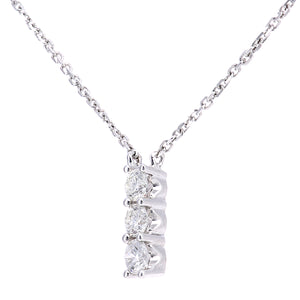 9ct White Gold Diamond Trilogy Pendant Necklace, 0.20ct Diamond