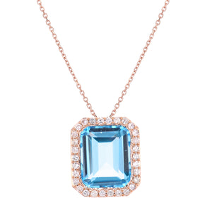 9ct Rose Gold Diamond and Blue Topaz Rectangular Cut Pendant Necklace