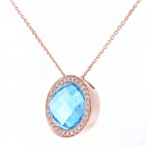9ct Rose Gold Diamond and Blue Topaz Pendant Necklace