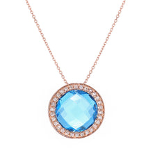 Load image into Gallery viewer, 9ct Rose Gold Diamond and Blue Topaz Pendant Necklace