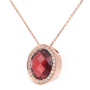 9ct Rose Gold Diamond and Garnet Pendant Necklace