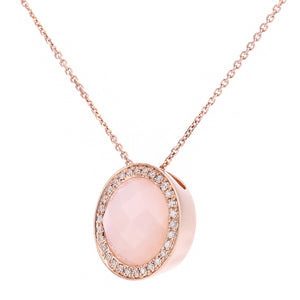 9ct Rose Gold Diamond and Pink Opal Pendant Necklace