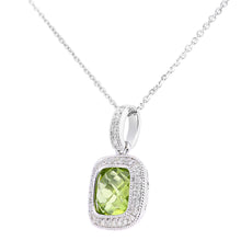 Load image into Gallery viewer, 9ct White Gold Diamond and Peridot  Square Pendant Necklace