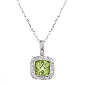 9ct White Gold Diamond and Peridot  Square Pendant Necklace