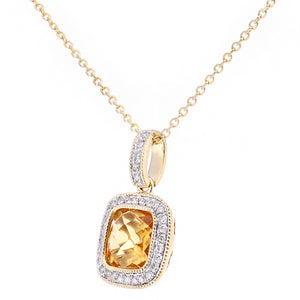 9ct Yellow Gold Diamond and Citrine Square Pendant Necklace