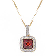 Load image into Gallery viewer, 9ct Yellow Gold Diamond and Garnet Square Pendant Necklace
