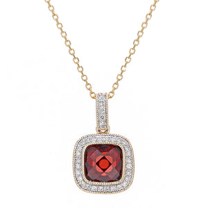 9ct Yellow Gold Diamond and Garnet Square Pendant Necklace