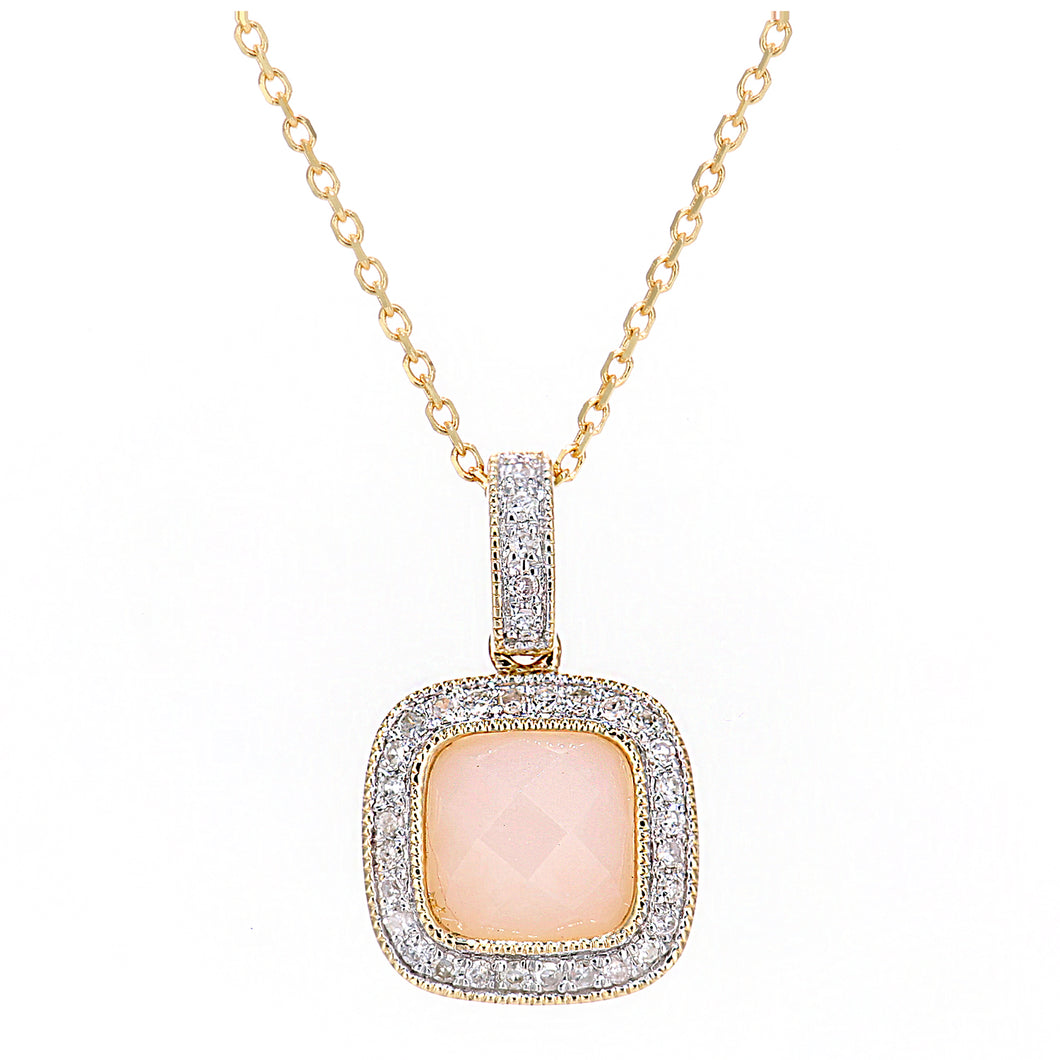 9ct Yellow Gold Diamond and Pink Opal Square Pendant Necklace