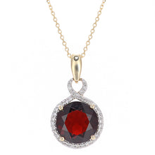Load image into Gallery viewer, 9ct Yellow Gold Diamond and Garnet Round Pendant Necklace