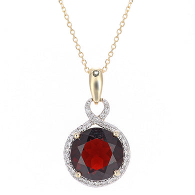 9ct Yellow Gold Diamond and Garnet Round Pendant Necklace