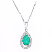 Load image into Gallery viewer, 9ct White Gold Diamond and Emerald Teardrop Pendant Necklace