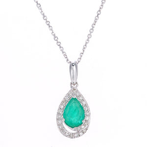 9ct White Gold Diamond and Emerald Teardrop Pendant Necklace