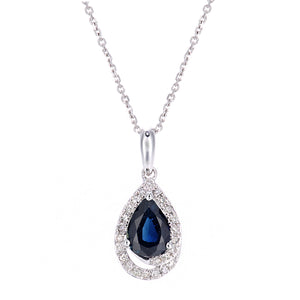 9ct White Gold Diamond and Sapphire Teardrop Pendant Necklace