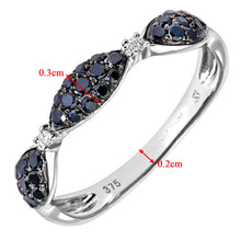 Load image into Gallery viewer, 9ct White Gold 0.33ct Diamonds and Black Diamonds Half Eternity Ring