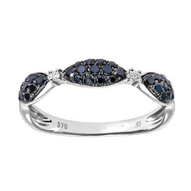 9ct White Gold 0.33ct Diamonds and Black Diamonds Half Eternity Ring
