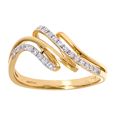 9ct Yellow Gold 0.12ct Diamond Twist Ring