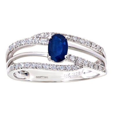 9ct White Gold 0.20ct Diamond and Sapphire Gem Ring