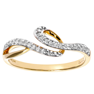 9ct Yellow Gold 0.17ct Diamond Twist Ring