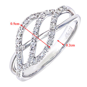 9ct White Gold 0.9ct Diamond Triple Wave Ring