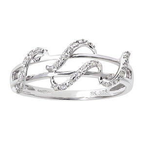 9ct White Gold 0.11ct Diamond Snake Ring