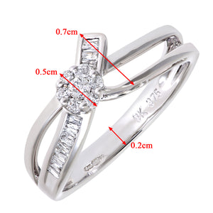 9ct White Gold 0.11ct Baguette Diamonds Bow Ring