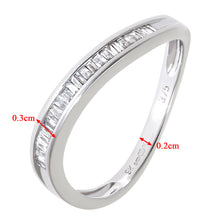 Load image into Gallery viewer, 9ct White Gold 0.19ct Channel Set Baguette Diamond Wave Ring