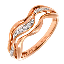 Load image into Gallery viewer, 9ct Rose and White Gold 0.10ct Diamond Triple Wave Half Eternity Ring