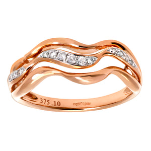 9ct Rose and White Gold 0.10ct Diamond Triple Wave Half Eternity Ring