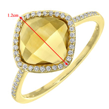 Load image into Gallery viewer, 9ct Yellow Gold Diamond and 1.95ct Cushion Cut Citrine Gemstone Ring