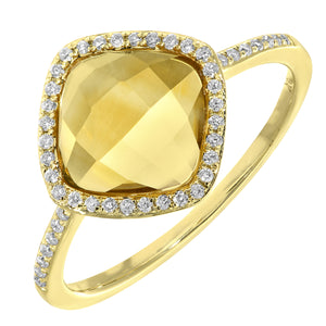 9ct Yellow Gold Diamond and 1.95ct Cushion Cut Citrine Gemstone Ring