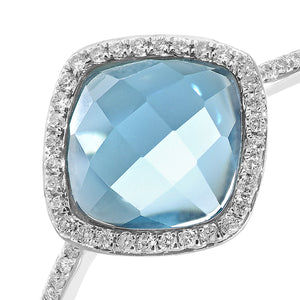 9ct White Gold Diamond and 2.65ct Cushion Cut Blue Topaz Gemstone Ring