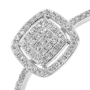 18ct White Gold 0.25ct Pave Set Diamond Square Ring