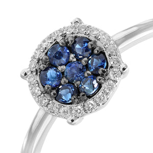 9ct White Gold Pave Set Diamond and 0.28ct Sapphire Round Ring