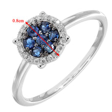 Load image into Gallery viewer, 9ct White Gold Pave Set Diamond and 0.28ct Sapphire Round Ring