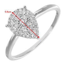Load image into Gallery viewer, 18ct White Gold Pave Set 0.30ct Diamond Teardrop Ring