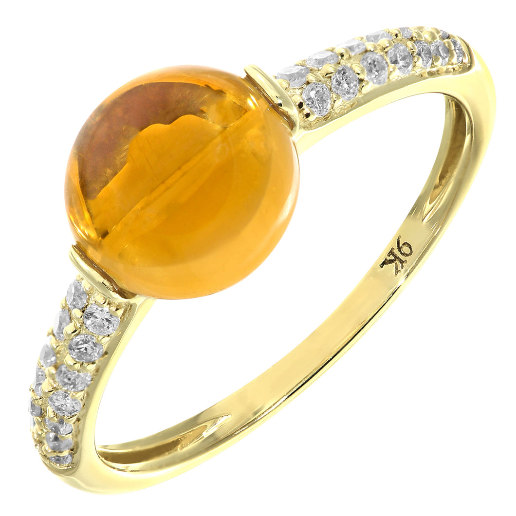 9ct Yellow Gold Diamond and 2.30ct Round Citrine Ring