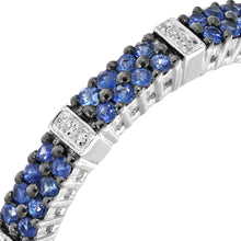 Load image into Gallery viewer, 9ct White Gold 0.25ct Blue Sapphire and Diamond Eternity Ring
