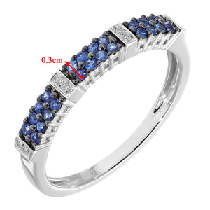 9ct White Gold 0.25ct Blue Sapphire and Diamond Eternity Ring