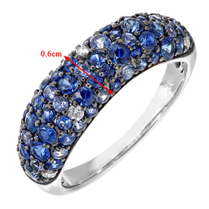 9ct White Gold Diamond and Sparkling Shades of Blue Sapphire Eternity Ring