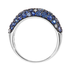 Load image into Gallery viewer, 9ct White Gold Diamond and Sparkling Shades of Blue Sapphire Eternity Ring