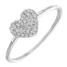 Load image into Gallery viewer, 18ct White Gold 0.13ct Pave Set Diamond Heart Ring