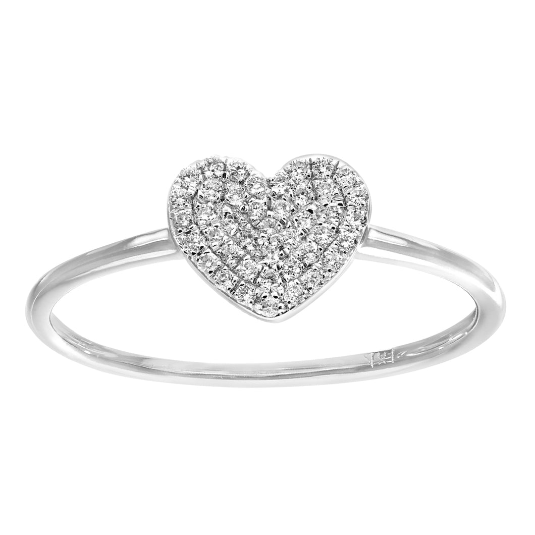 18ct White Gold 0.13ct Pave Set Diamond Heart Ring