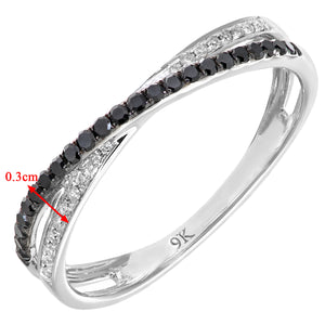 9ct White Gold 0.23ct Black and White Diamond Kiss Ring