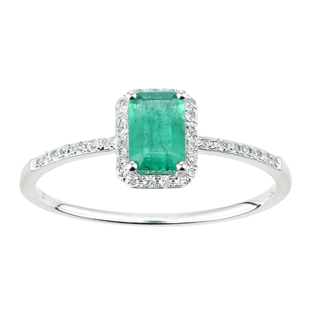 18ct White Gold Emerald and Diamond Gemstone Ring
