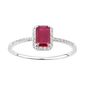 18ct White Gold Ruby and Diamond Gemstone Ring