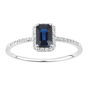 18ct White Gold Sapphire and Diamond Gemstone Ring