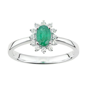 18ct White Gold Emerald and Diamond Oval Gemstone Ring